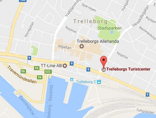 Karta till Trelleborgs turistcenter